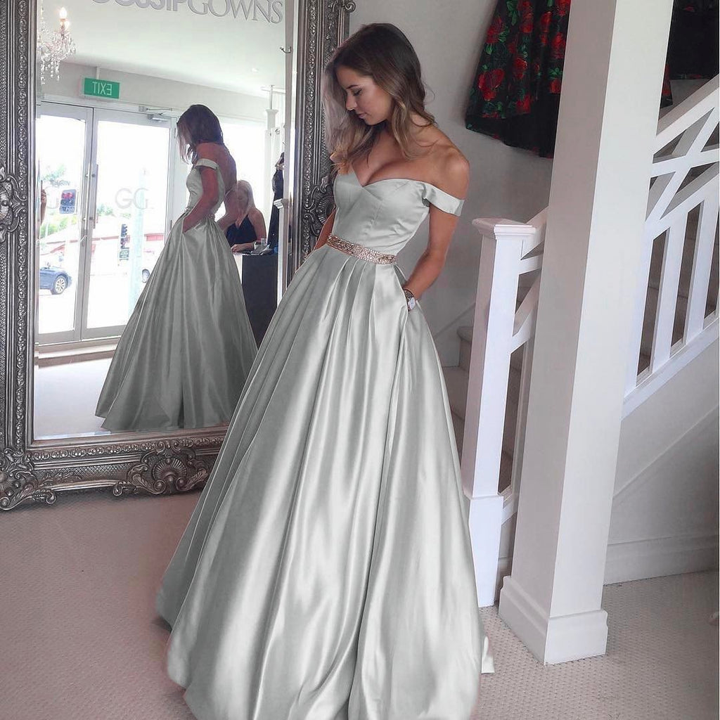 Off The Shoulder Sweetheart Long Satin Prom Dresses Ball Gowns