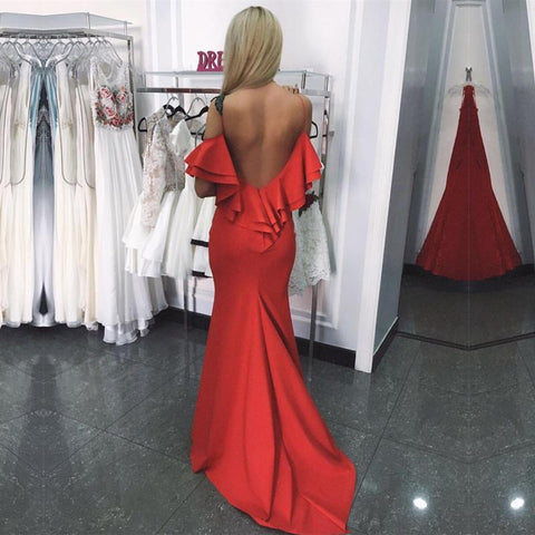Image of Ruffle Back Long Satin Mermaid Prom Dresses 2018 Formal  Evening Gowns