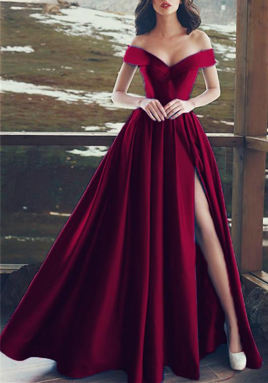 Charming V-neck Off The Shoulder Prom Dresses Long Satin Evening Gowns