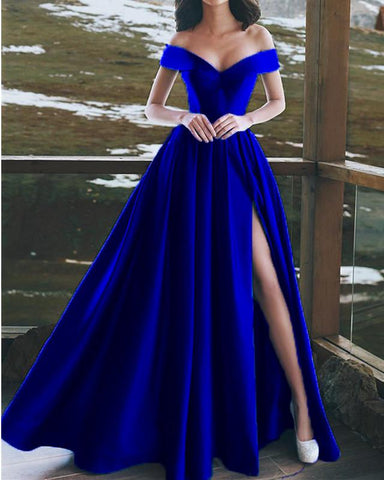 Image of Royal-Blue-Prom-Dresses-V-neck-Satin-Gowns-Long-Formal-Party-Dresses