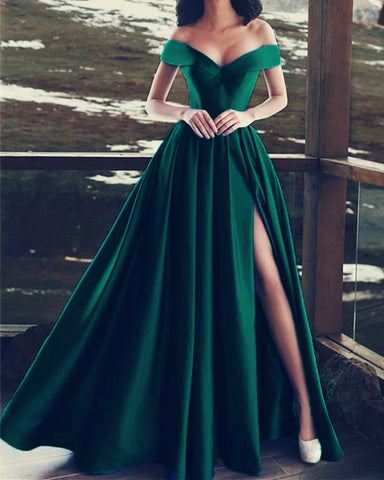 Image of Emerald-Green-Prom-Dresses-Off-The-Shoulder-Evening-Gowns