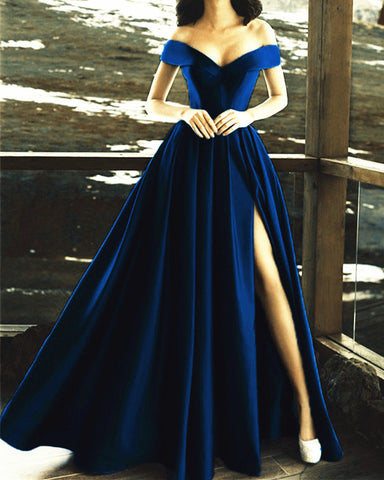 Image of Navy-Blue-Prom-Dresses-Long-Satin-Evening-Gowns