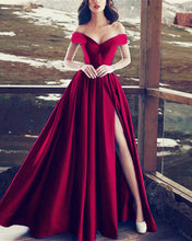 Afbeelding in Gallery-weergave laden, 2019-long-burgundy-prom-dress-off-shoulder-evening-gowns