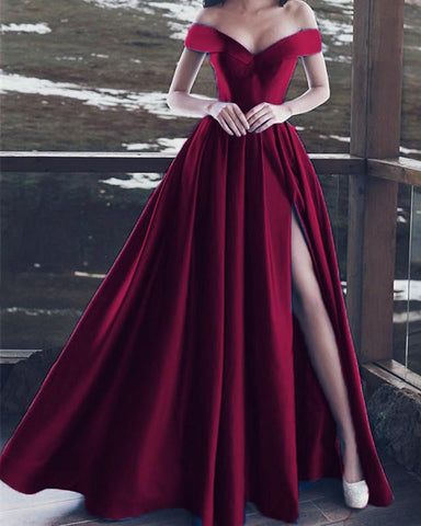 Image of Burgundy-Evening-Dresses-Long-Formal-Prom-Gowns-Off-The-Shoulder