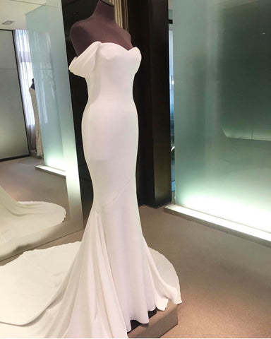 Image of Mermaid Wedding Dresses Sweetheart Court Train With Off Shoulder