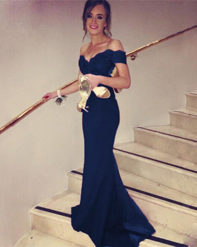 Image of Navy-Blue-Mermaid-Gowns
