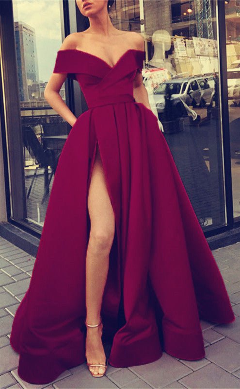 Sexy Evening Dresses Off Shoulder Long Satin Split Prom Gowns