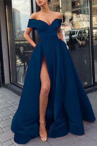 Image of Sexy Evening Dresses Off Shoulder Long Satin Split Prom Gowns