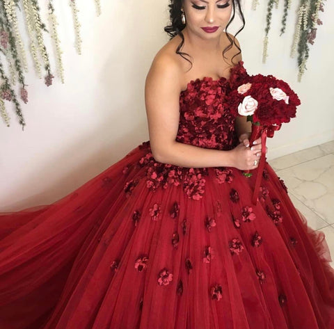 Image of Burgundy-Wedding-Gowns