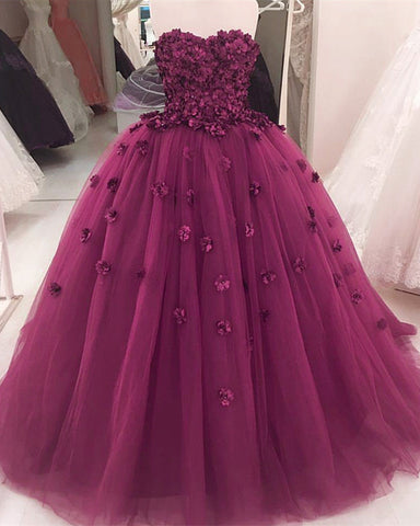 d876bbb43d5 Gorgeous Flowers Sweetheart Tulle Ball Gowns Quinceanera Dresses ...