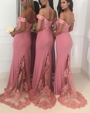 Load image into Gallery viewer, Blush-Pink-Bridesmaid-Dresses-Long-Lace-Appliques-Evening-Gowns