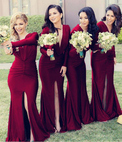 Image of Long Sleeves Open Back Mermaid V-neck Bridesmaid Dresses