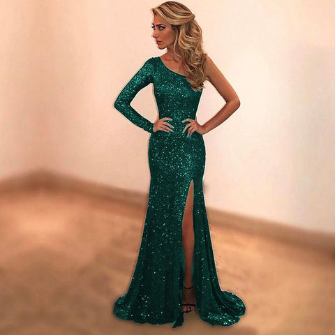 Image of fully sequins and beaded black mermaid evening dresses one shoulder prom gowns with slit