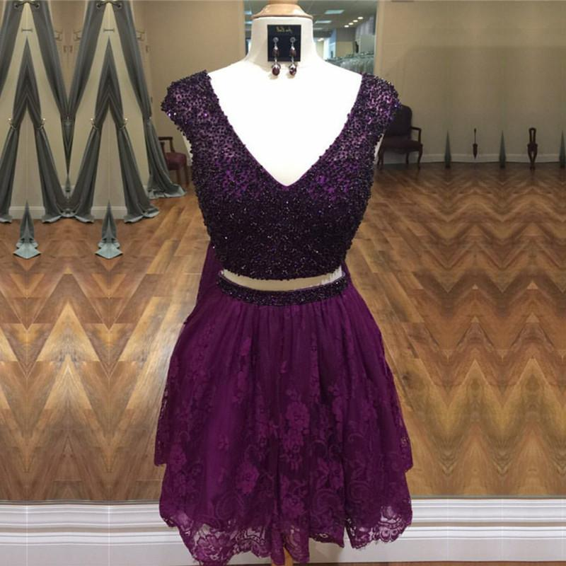 Stunning Beaded Cap Sleeves Lace Homecoming Dresses Two Piece