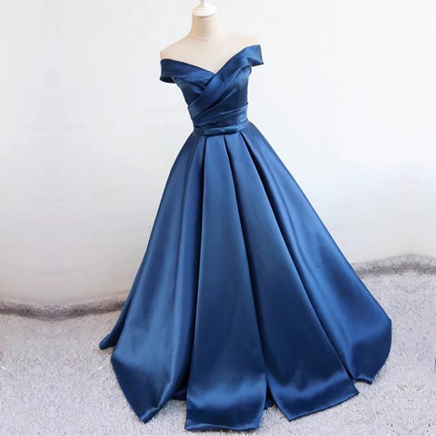 Image of v neck off the shoulder long satin prom dresses ball gowns