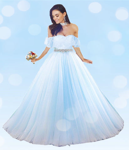 Image of Baby Blue Tulle Quinceanera Dress Ball Gowns Lace Off Shoulder