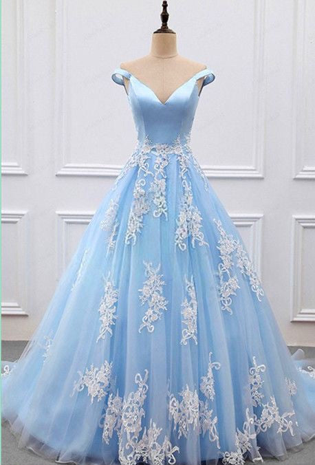 Light Blue Tulle And Satin Off Shoulder Ball Gown Prom Dresses 2018