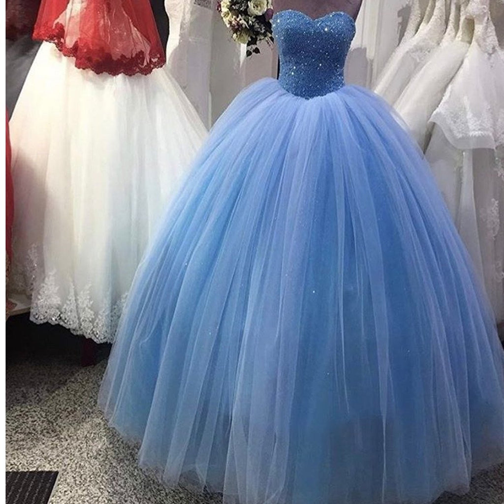 Elegant Sequins Beaded Tulle Quinceanera Dresses Ball Gowns 2017