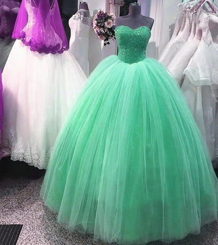Image of Elegant Sequins Beaded Tulle Quinceanera Dresses Ball Gowns 2017