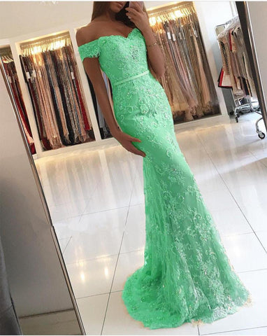 Image of Elegant Lace Mermaid Prom Dresses Off Shoulder
