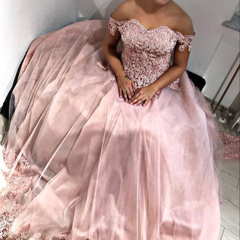 Pink Tulle Sweetheart Ball Gown Wedding Dresses Lace Off The Shoulder