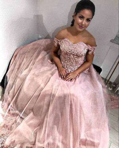 Image of Pink Tulle Sweetheart Ball Gown Wedding Dresses Lace Off The Shoulder