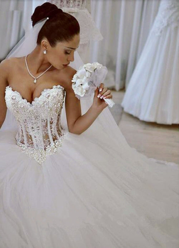 Romantic Lace Pearl Sweetheart Corset Tulle Wedding Dress 2019