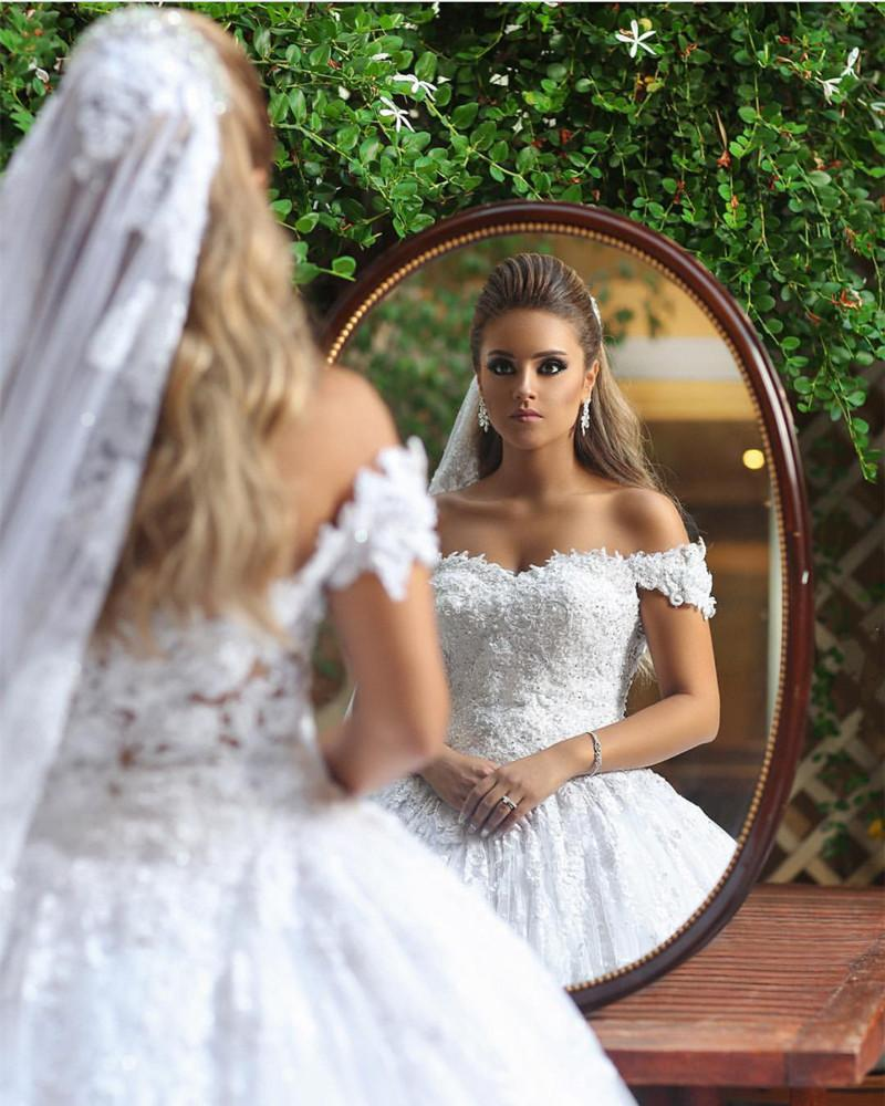 9adad2638 Royal Train Lace Wedding Dresses Ball Gowns Off-the-shoulder. Double tap to  zoom