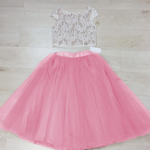 Image of Chic Lace Crop Tea Length Prom Dresses Two Piece