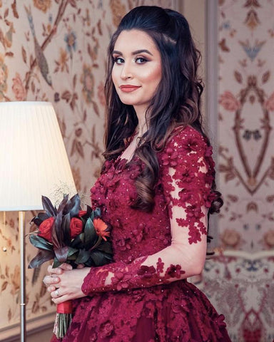 Image of Burgundy-Wedding-Dresses-Lace-Long-Sleeves