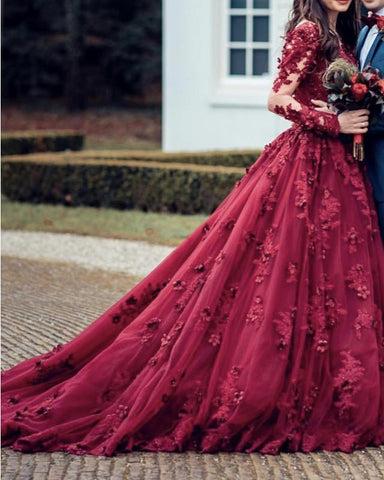 Image of Lace Embroidery Long Sleeves Princess Ball Gowns Wedding Dresses