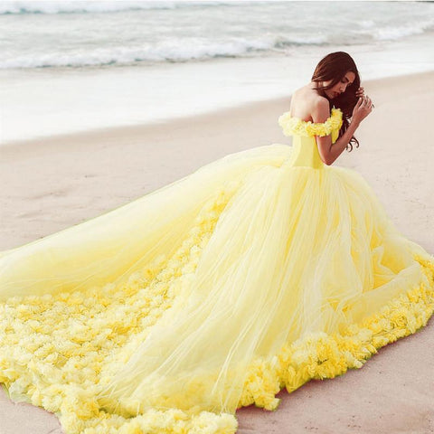 Image of Princess-Belle-Dresses-Tulle-Ball-Gowns-Flowers-Quinceanera-Dresses-Yellow