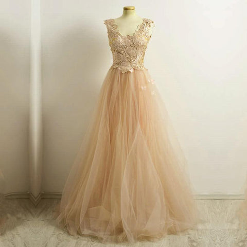 Image of A Line Lace Cap Sleeves Long Champagne Tulle Evening Dresses