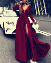 Load image into Gallery viewer, 2019-Prom-Dresses-Chiffon-Long-Sleeves-Evening-Gowns-Leg-Split