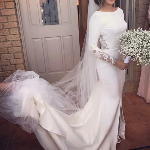 Image of Long Sleeves Mermaid Wedding Dresses Lace Backless