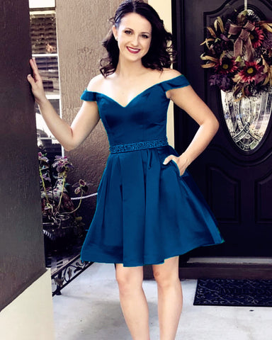 Image of Navy-Blue-Prom-Dress-Short