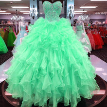 Load image into Gallery viewer, Ball Gowns Quinceanera Dresses Ruffles Skirt With Beading Sweetheart