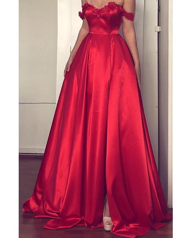 Lace Flowers Sweetheart Off The Shoulder Long Satin Prom Dresses