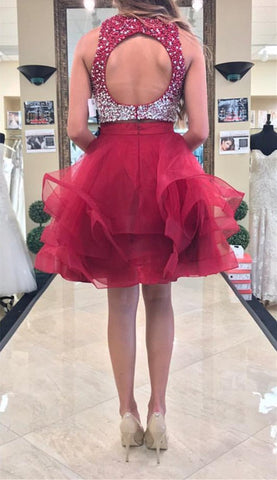 Image of Two Piece Ruffles Ball Gown Homecoming Dresses With Ombre Sequins And Beaded