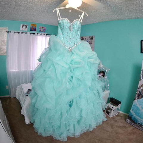 Image of Beaded Sweetheart Light Blue Quinceanera Dresses Ball Gowns Organza Layered