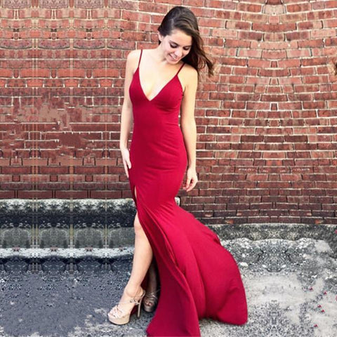 Image of Sexy Deep V-neck Open Back Long Jersey Mermaid Evening Dresses 2018