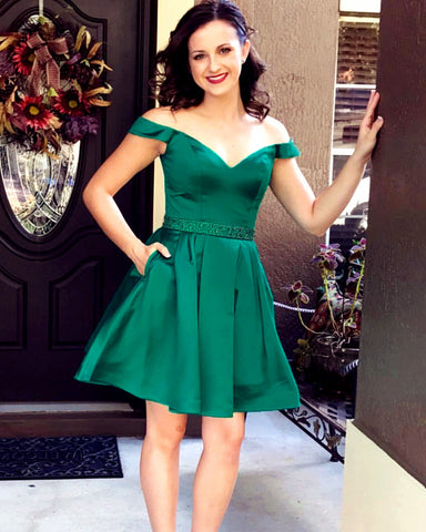 Image of Emerald-Green-Homecoming-Dress