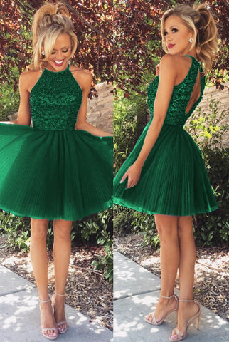 Image of Short Tulle Prom Homecoming Dresses Beaded Halter