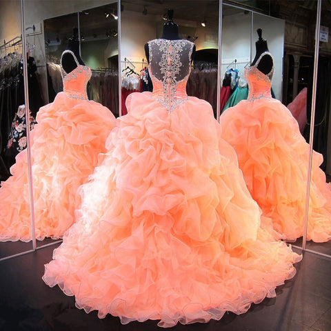 Image of coral organza ruffles beaded sweetheart quinceanera dresses ball gowns
