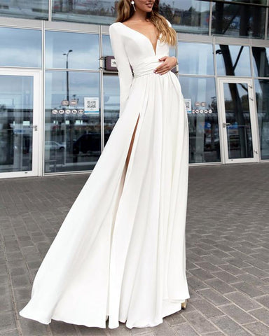 Image of Long-Sleeves-Chiffon-Evening-Gowns-For-Bridal-Party