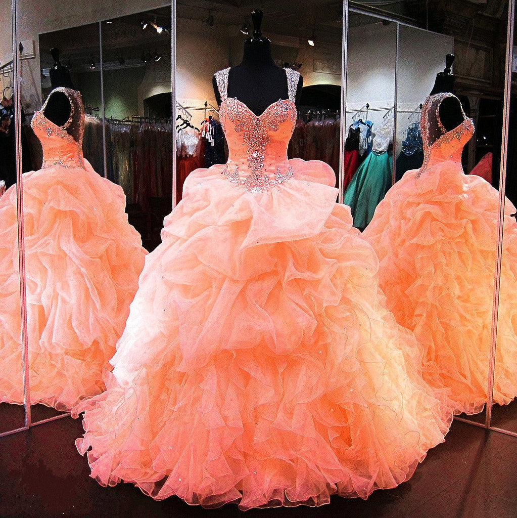 coral organza ruffles beaded sweetheart quinceanera dresses ball gowns