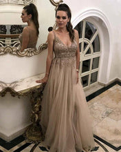 Load image into Gallery viewer, Long Tulle Prom Dresses Champagne 2020