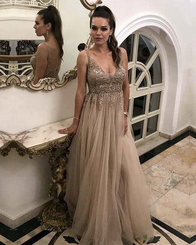 Image of Stylish Lace Appliques V-neck Tulle Evening Dresses 2019