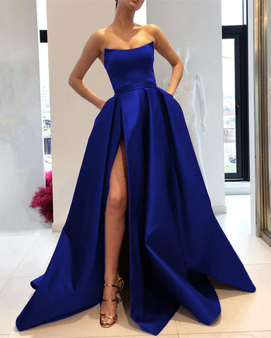 Image of Royal Blue Prom Dresses Long 2019 Satin Strapless Evening Gowns With Slit