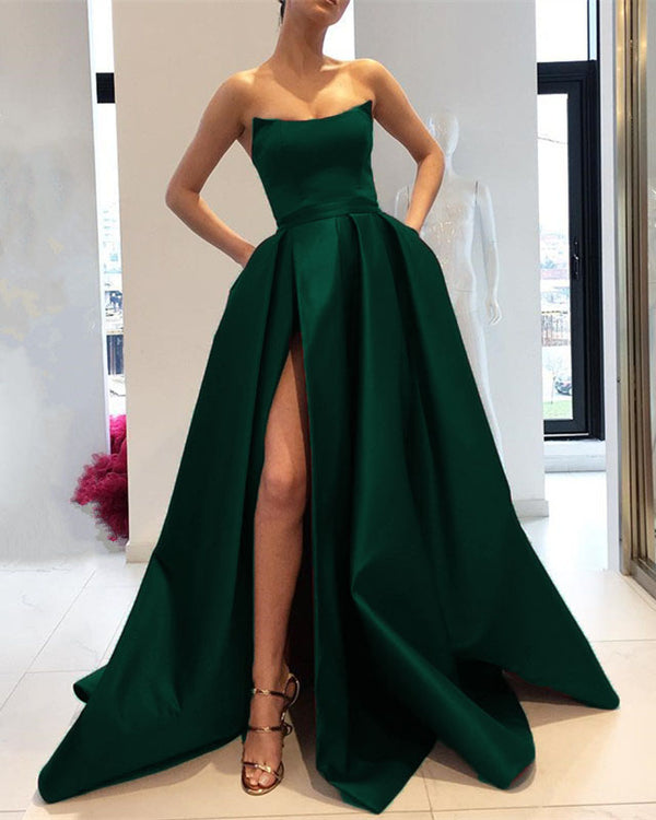 Royal Blue Prom Dresses Long 2019 Satin Strapless Evening Gowns With Slit